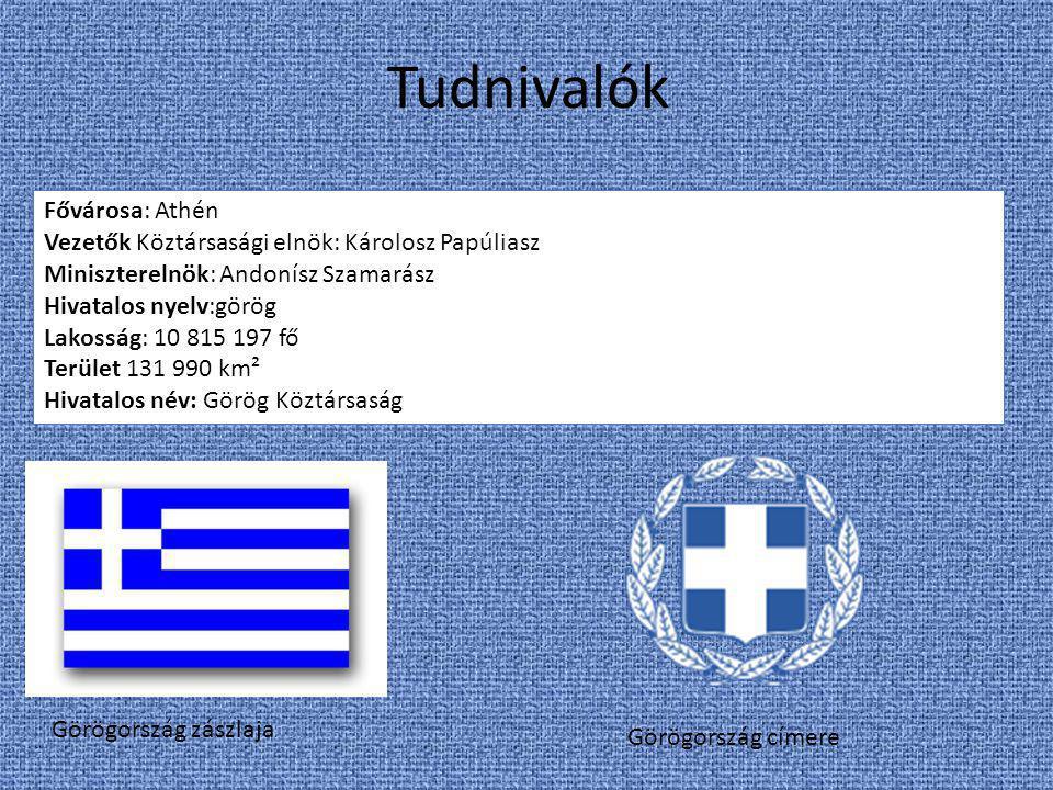 Tudnivalók Görögország zászlaja Görögország címere Fővárosa: Athén Vezetők Köztársasági elnök: Károlosz Papúliasz Miniszterelnök: Andonísz Szamarász H
