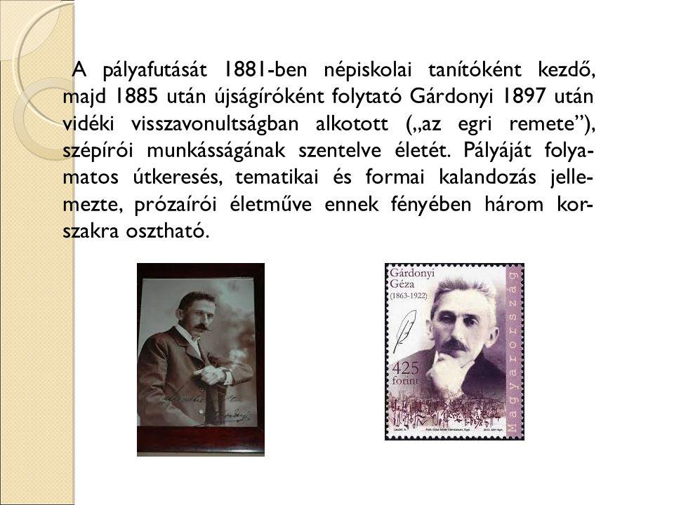 """A pályafutását 1881-ben népiskolai tanítóként kezdő, majd 1885 után újságíróként folytató Gárdonyi 1897 után vidéki visszavonultságban alkotott (""""az e"""