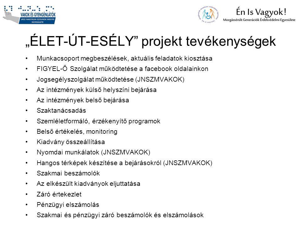 """""""ÉLET-ÚT-ESÉLY"""" projekt tevékenységek Munkacsoport megbeszélések, aktuális feladatok kiosztása FIGYEL-Ő Szolgálat működtetése a facebook oldalainkon J"""