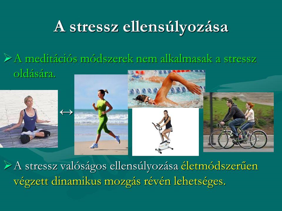 A stressz ellensúlyozása  A meditációs módszerek nem alkalmasak a stressz oldására. ↔  A stressz valóságos ellensúlyozása életmódszerűen végzett din