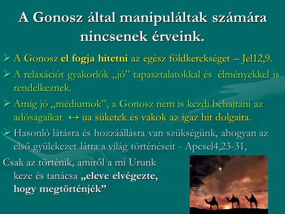 """A Gonosz által manipuláltak számára nincsenek érveink.  A Gonosz el fogja hitetni az egész földkerekséget – Jel12,9.  A relaxációt gyakorlók """"jó"""" ta"""