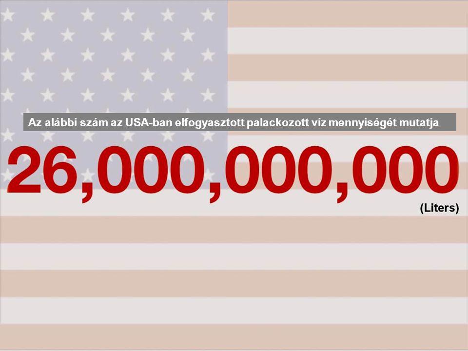 Az alábbi szám az USA-ban elfogyasztott palackozott víz mennyiségét mutatja