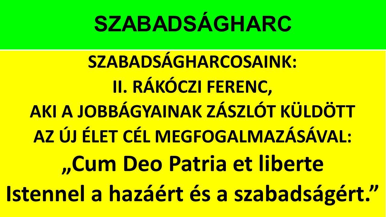 """SZABADSÁGHARC SZABADSÁGHARCOSAINK: II. RÁKÓCZI FERENC, AKI A JOBBÁGYAINAK ZÁSZLÓT KÜLDÖTT AZ ÚJ ÉLET CÉL MEGFOGALMAZÁSÁVAL: """"Cum Deo Patria et liberte"""