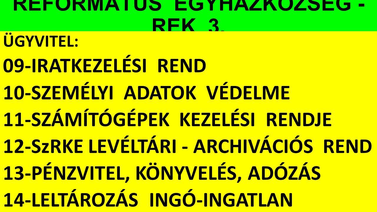 REFORMÁTUS EGYHÁZKÖZSÉG - REK 3. ÜGYVITEL: 09-IRATKEZELÉSI REND 10-SZEMÉLYI ADATOK VÉDELME 11-SZÁMÍTÓGÉPEK KEZELÉSI RENDJE 12-SzRKE LEVÉLTÁRI - ARCHIV