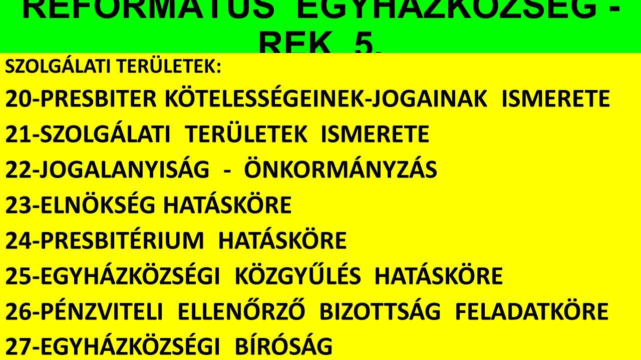 REFORMÁTUS EGYHÁZKÖZSÉG - REK 5. SZOLGÁLATI TERÜLETEK: 20-PRESBITER KÖTELESSÉGEINEK-JOGAINAK ISMERETE 21-SZOLGÁLATI TERÜLETEK ISMERETE 22-JOGALANYISÁG