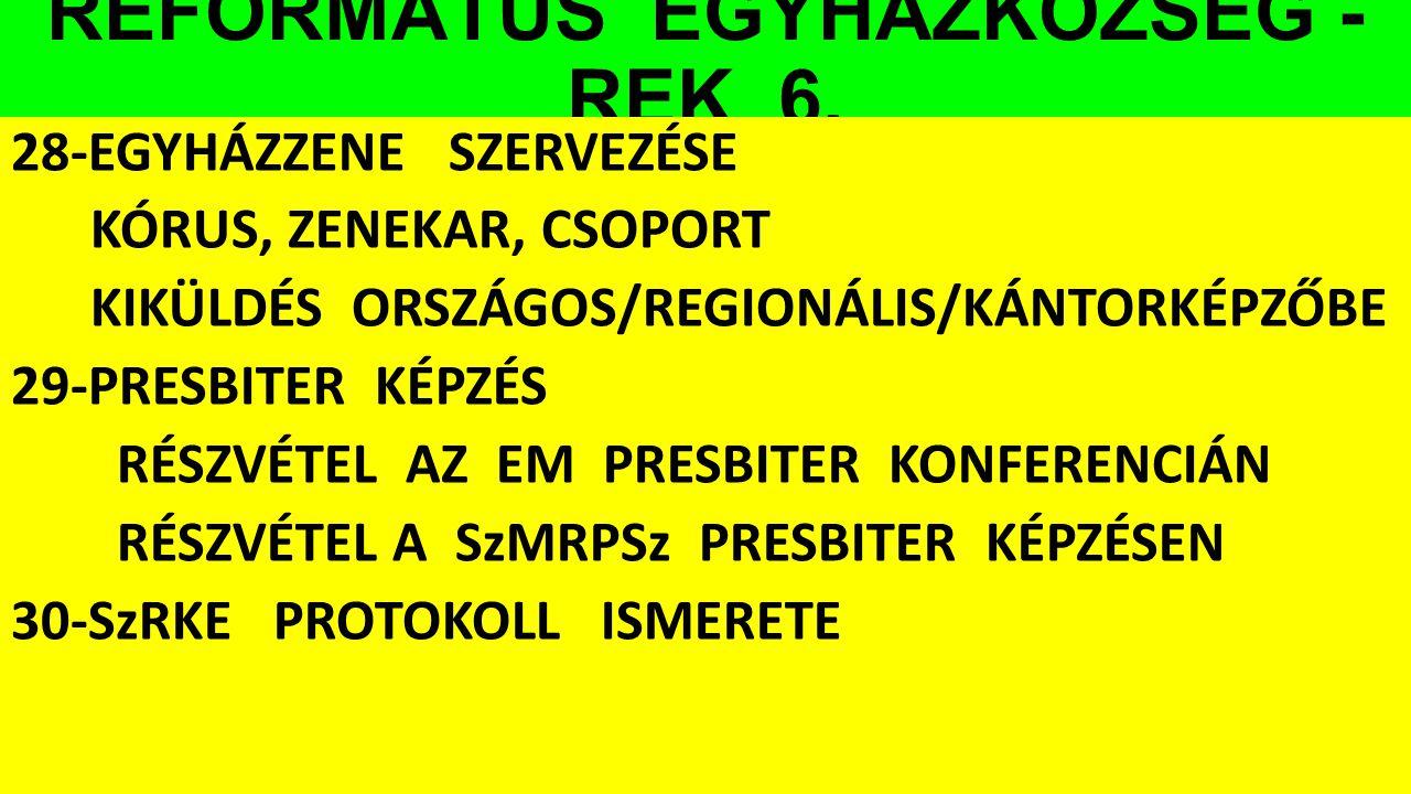 REFORMÁTUS EGYHÁZKÖZSÉG - REK 6. 28-EGYHÁZZENE SZERVEZÉSE KÓRUS, ZENEKAR, CSOPORT KIKÜLDÉS ORSZÁGOS/REGIONÁLIS/KÁNTORKÉPZŐBE 29-PRESBITER KÉPZÉS RÉSZV