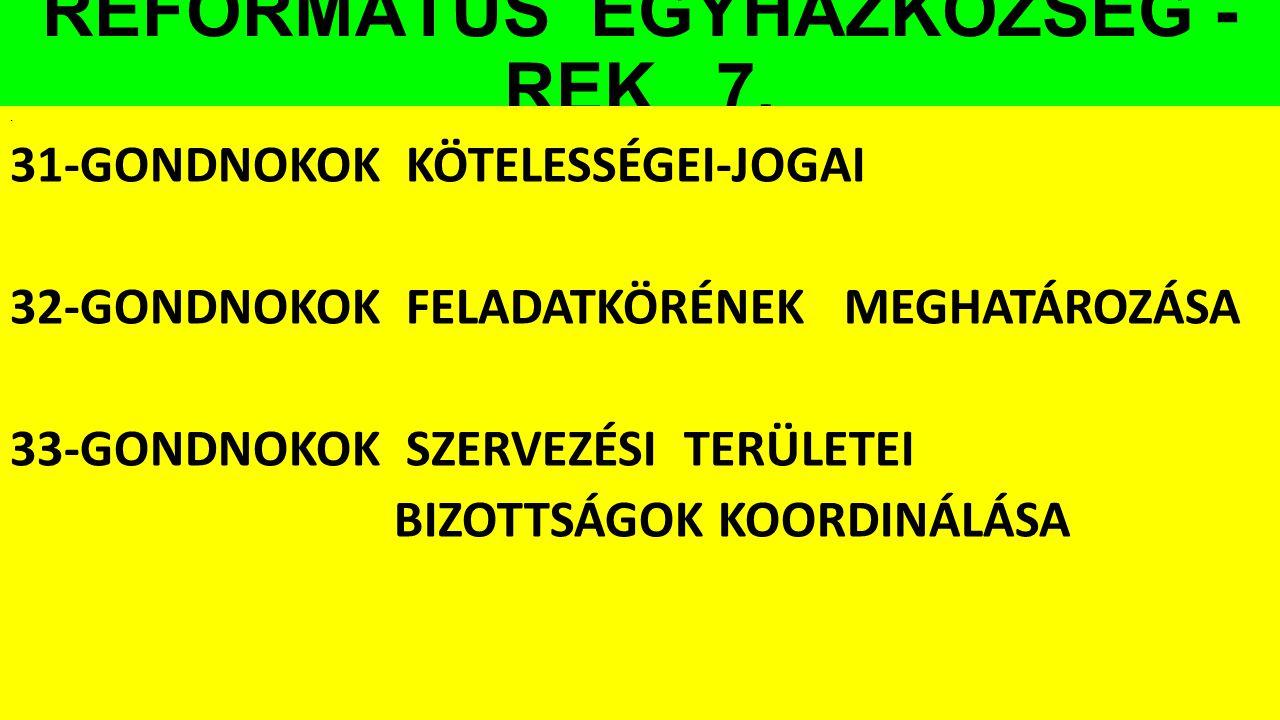 REFORMÁTUS EGYHÁZKÖZSÉG - REK 7.. 31-GONDNOKOK KÖTELESSÉGEI-JOGAI 32-GONDNOKOK FELADATKÖRÉNEK MEGHATÁROZÁSA 33-GONDNOKOK SZERVEZÉSI TERÜLETEI BIZOTTSÁ