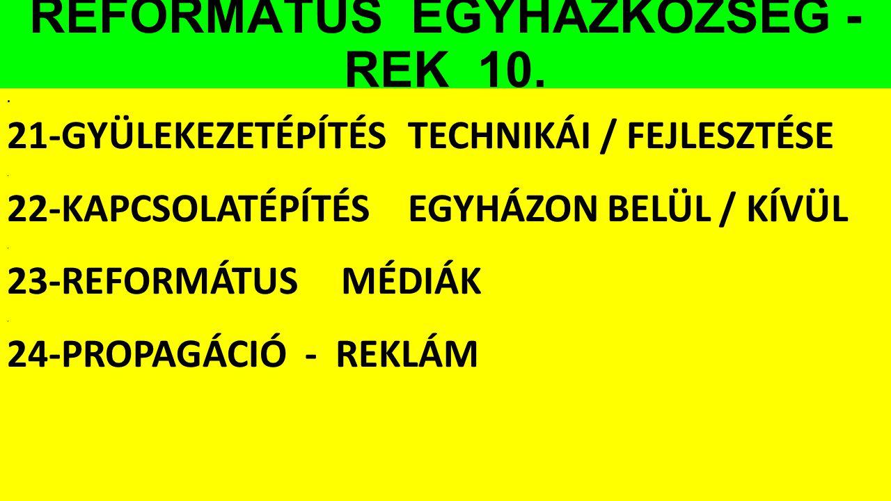 REFORMÁTUS EGYHÁZKÖZSÉG - REK 10.. 21-GYÜLEKEZETÉPÍTÉSTECHNIKÁI / FEJLESZTÉSE. 22-KAPCSOLATÉPÍTÉSEGYHÁZON BELÜL / KÍVÜL. 23-REFORMÁTUSMÉDIÁK. 24-PROPA