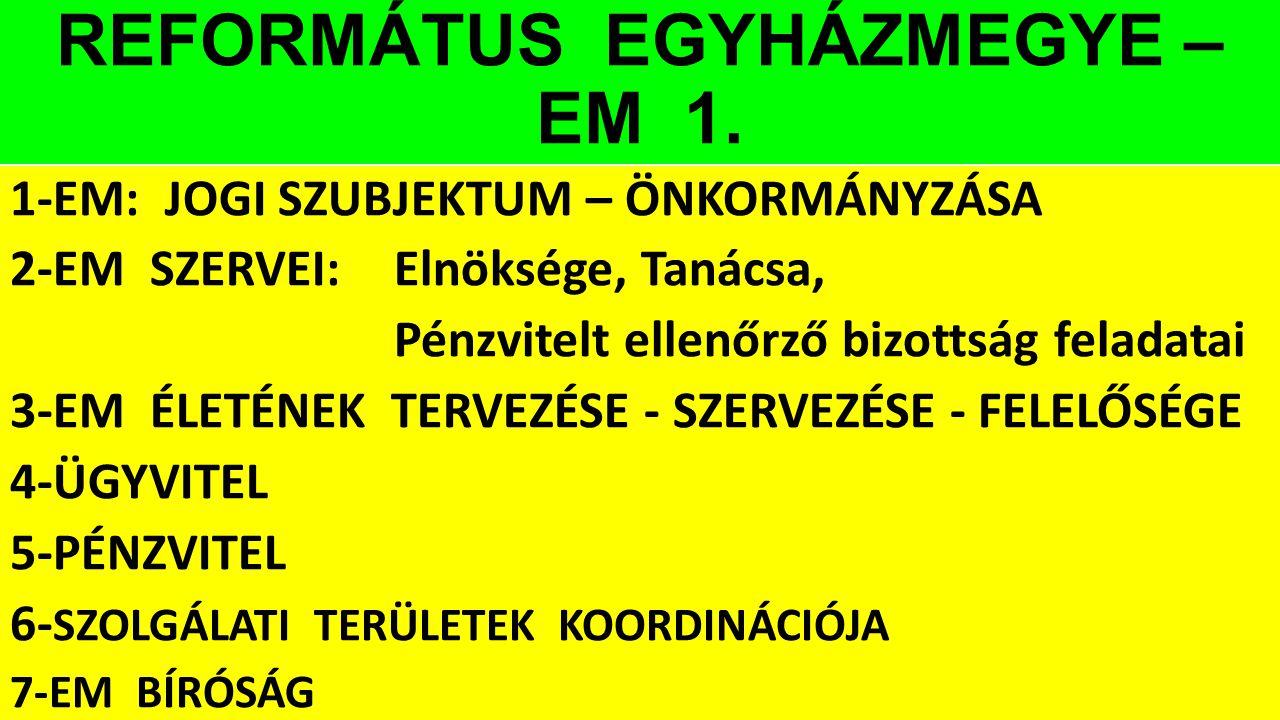 REFORMÁTUS EGYHÁZMEGYE – EM 1. 1-EM: JOGI SZUBJEKTUM – ÖNKORMÁNYZÁSA 2-EM SZERVEI:Elnöksége, Tanácsa, Pénzvitelt ellenőrző bizottság feladatai 3-EM ÉL