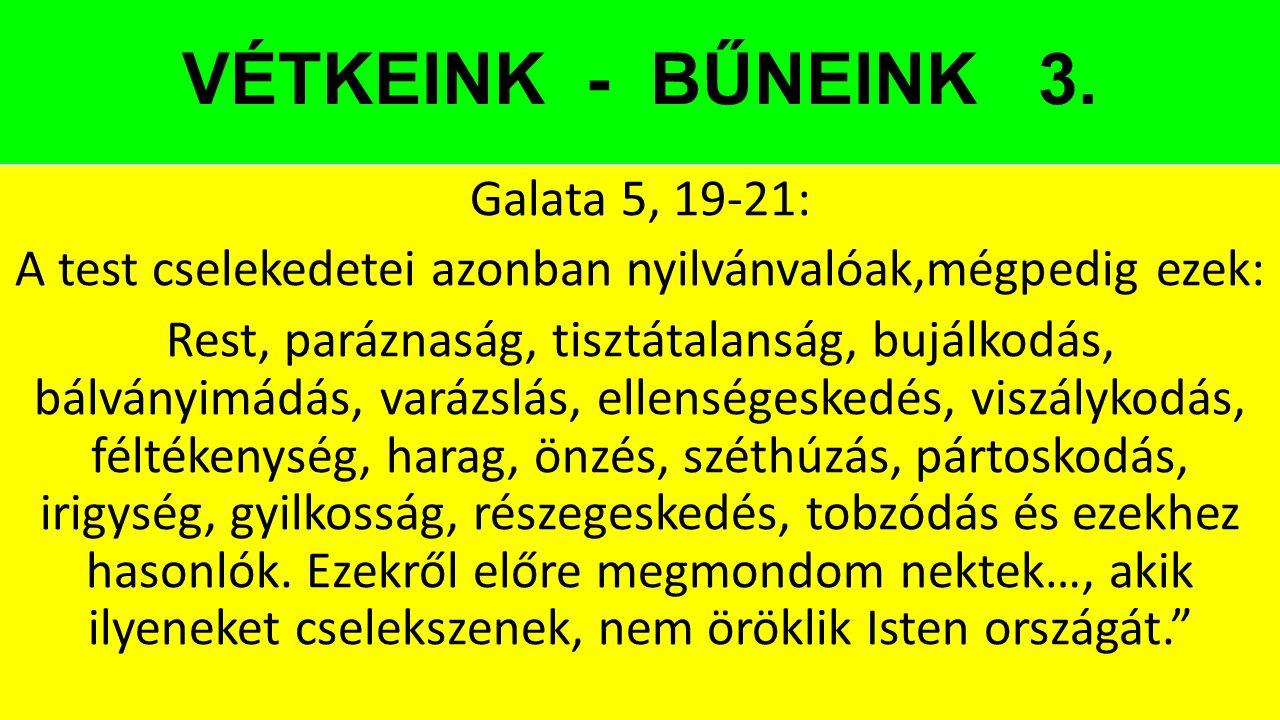 VÉTKEINK - BŰNEINK 3. Galata 5, 19-21: A test cselekedetei azonban nyilvánvalóak,mégpedig ezek: Rest, paráznaság, tisztátalanság, bujálkodás, bálványi