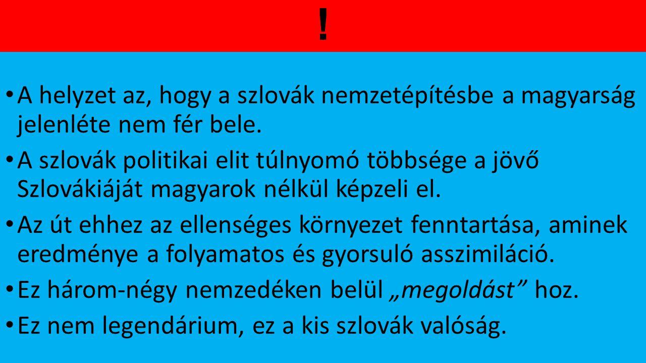 ! A helyzet az, hogy a szlovák nemzetépítésbe a magyarság jelenléte nem fér bele. A szlovák politikai elit túlnyomó többsége a jövő Szlovákiáját magya