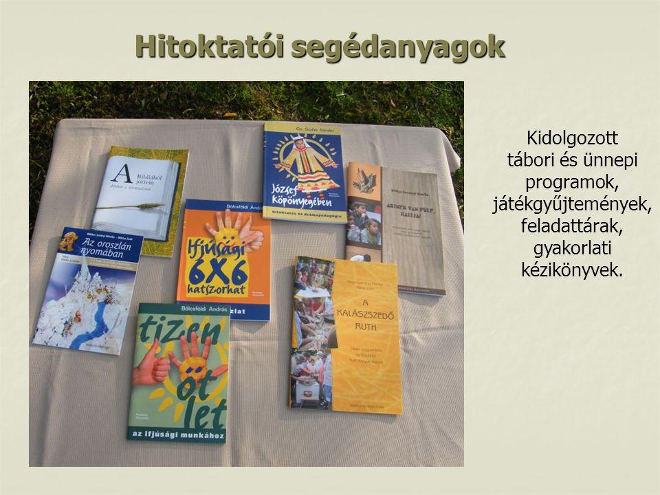 Hitoktatói segédanyagok Kidolgozott tábori és ünnepi programok, játékgyűjtemények, feladattárak, gyakorlati kézikönyvek.