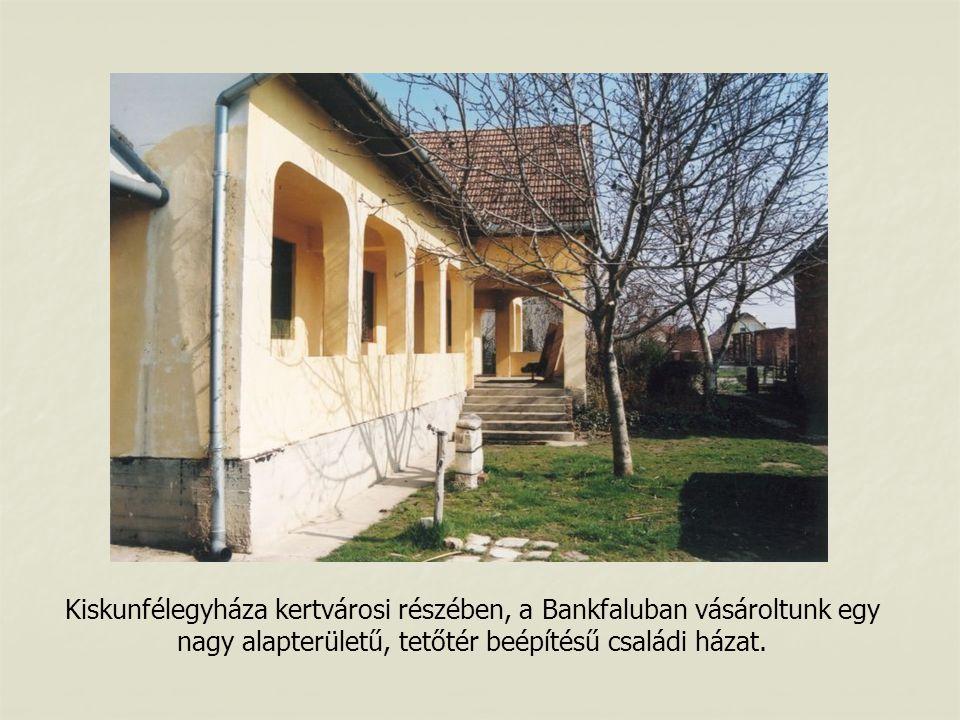 Kiskunfélegyháza kertvárosi részében, a Bankfaluban vásároltunk egy nagy alapterületű, tetőtér beépítésű családi házat.