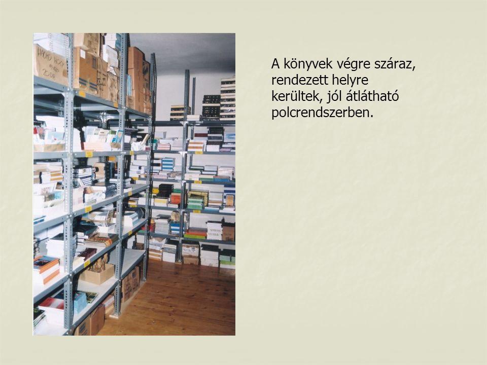 A könyvek végre száraz, rendezett helyre kerültek, jól átlátható polcrendszerben.