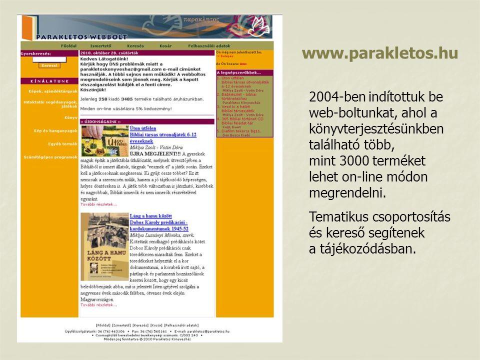 2004-ben indítottuk be web-boltunkat, ahol a könyvterjesztésünkben található több, mint 3000 terméket lehet on-line módon megrendelni.