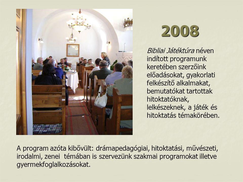 2008 Bibliai Játéktúra néven indított programunk keretében szerzőink előadásokat, gyakorlati felkészítő alkalmakat, bemutatókat tartottak hitoktatóknak, lelkészeknek, a játék és hitoktatás témakörében.