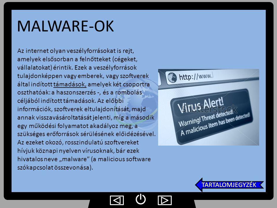 MALWARE-OK Az internet olyan veszélyforrásokat is rejt, amelyek elsősorban a felnőtteket (cégeket, vállalatokat) érintik. Ezek a veszélyforrások tulaj