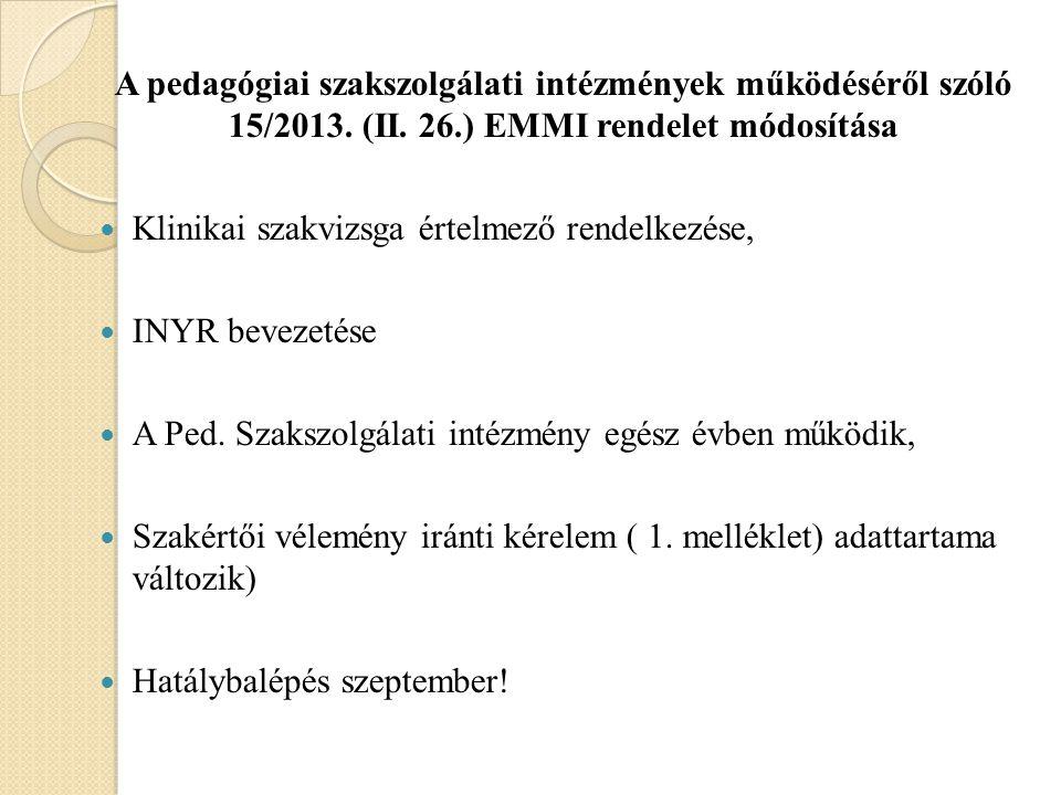A pedagógiai szakszolgálati intézmények működéséről szóló 15/2013. (II. 26.) EMMI rendelet módosítása Klinikai szakvizsga értelmező rendelkezése, INYR