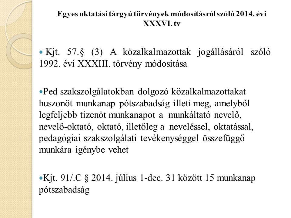 Egyes oktatási tárgyú törvények módosításról szóló 2014. évi XXXVI. tv Kjt. 57.§ (3) A közalkalmazottak jogállásáról szóló 1992. évi XXXIII. törvény m