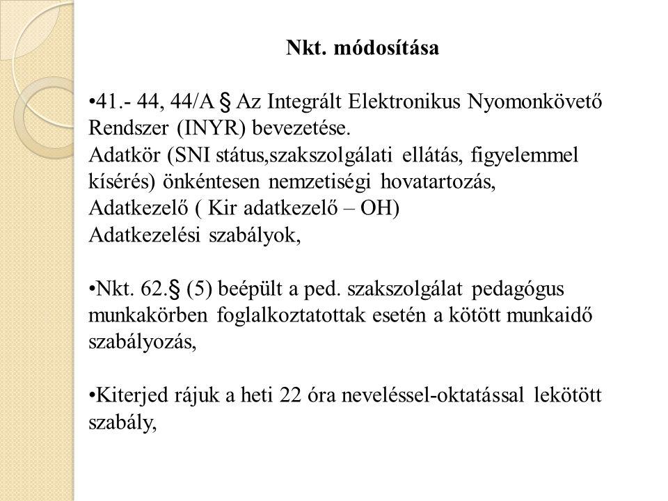 Nkt. módosítása 41.- 44, 44/A § Az Integrált Elektronikus Nyomonkövető Rendszer (INYR) bevezetése. Adatkör (SNI státus,szakszolgálati ellátás, figyele
