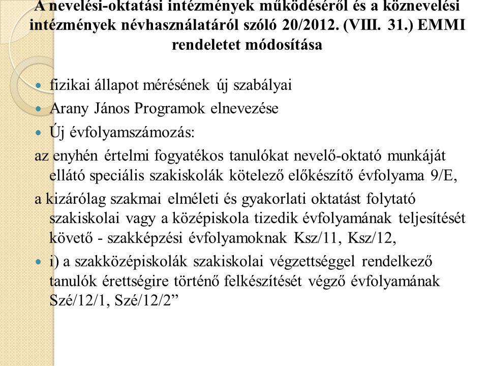 A nevelési-oktatási intézmények működéséről és a köznevelési intézmények névhasználatáról szóló 20/2012. (VIII. 31.) EMMI rendeletet módosítása fizika