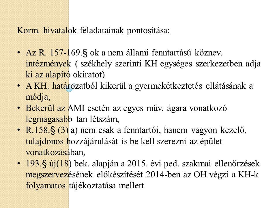 Korm. hivatalok feladatainak pontosítása: Az R. 157-169.§ ok a nem állami fenntartású köznev. intézmények ( székhely szerinti KH egységes szerkezetben