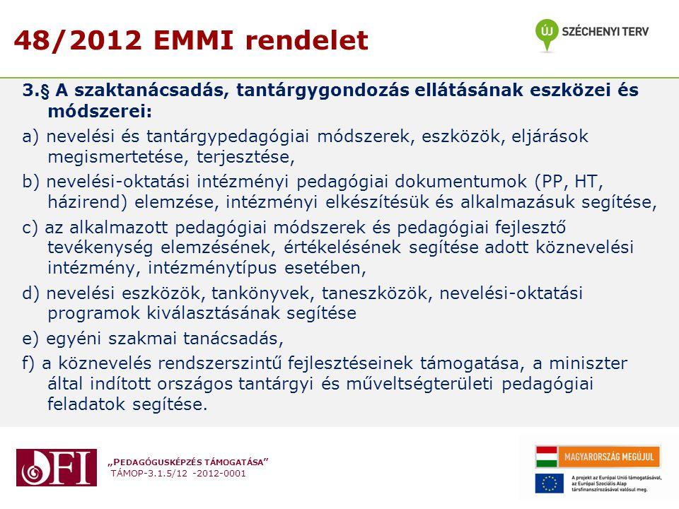 """""""P EDAGÓGUSKÉPZÉS TÁMOGATÁSA """" TÁMOP-3.1.5/12 -2012-0001 48/2012 EMMI rendelet 3.§ A szaktanácsadás, tantárgygondozás ellátásának eszközei és módszere"""