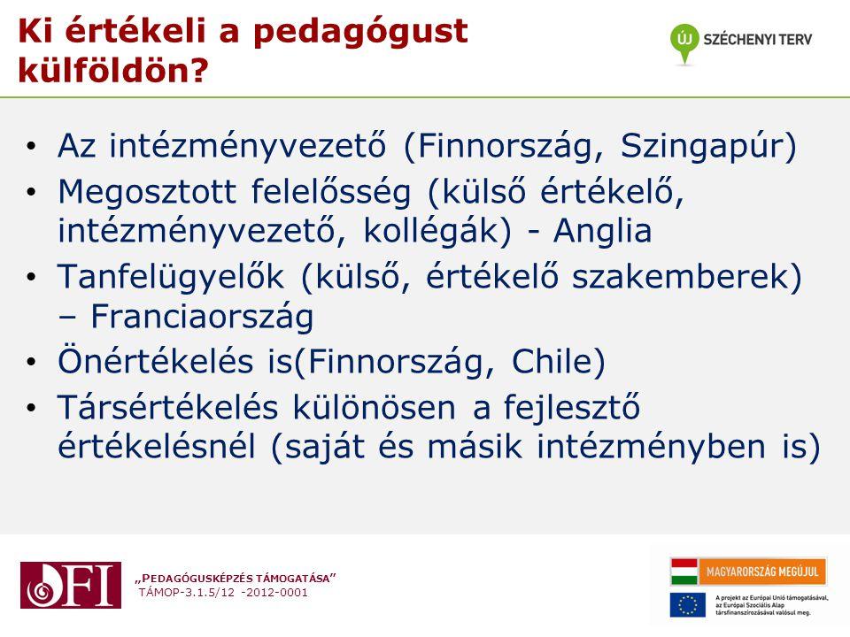 """""""P EDAGÓGUSKÉPZÉS TÁMOGATÁSA """" TÁMOP-3.1.5/12 -2012-0001 Ki értékeli a pedagógust külföldön? Az intézményvezető (Finnország, Szingapúr) Megosztott fel"""