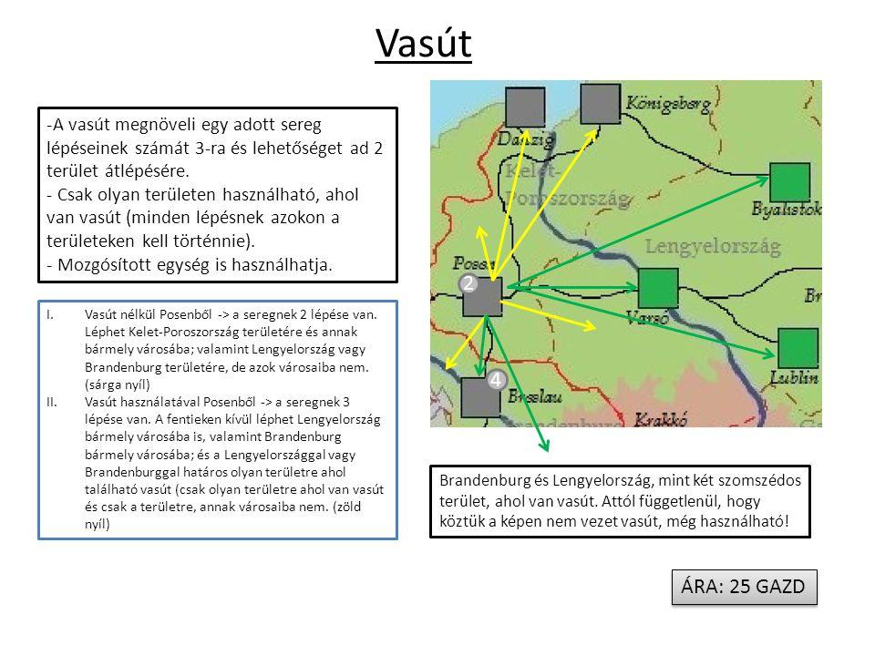 Vasút -A vasút megnöveli egy adott sereg lépéseinek számát 3-ra és lehetőséget ad 2 terület átlépésére.