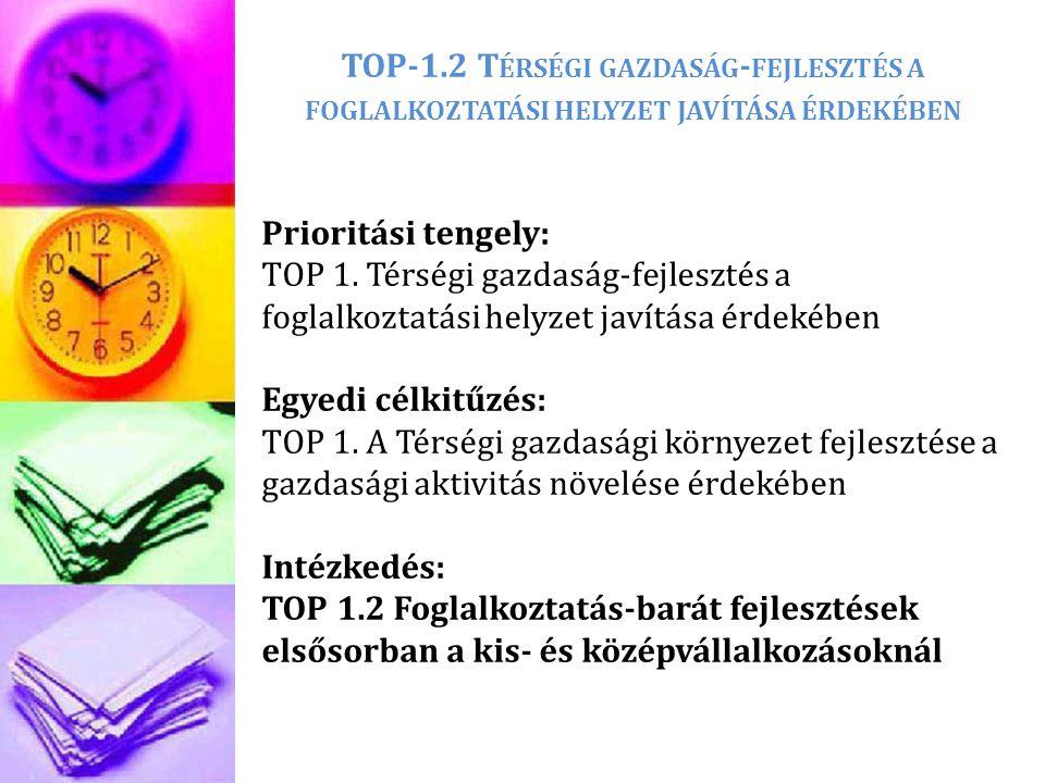 TOP-1.2 T ÉRSÉGI GAZDASÁG - FEJLESZTÉS A FOGLALKOZTATÁSI HELYZET JAVÍTÁSA ÉRDEKÉBEN Prioritási tengely: TOP 1. Térségi gazdaság-fejlesztés a foglalkoz