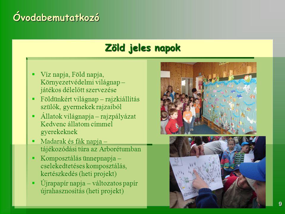 Óvodabemutatkozó 10 ZOB vállalásaink: KTF Konferencia Célunk: A konferencia lehetőséget biztosít a környezetvédelem- ben és tudatos fogyasztói maga- tartás kialakításában már jártas óvoda- pedagógusoknak, óvodáknak a bemu- tatkozásra.