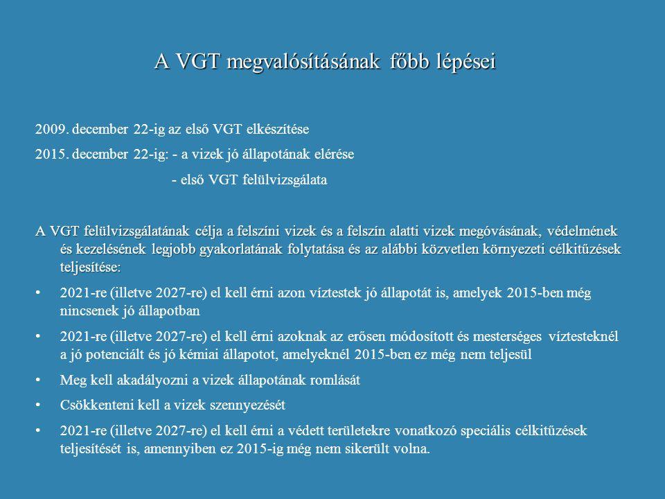 A VGT megvalósításának főbb lépései 2009. december 22-ig az első VGT elkészítése 2015. december 22-ig: - a vizek jó állapotának elérése - első VGT fel