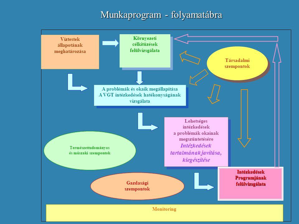 Munkaprogram - folyamatábra Víztestek állapotának meghatározása Környezeti célkitűzések felülvizsgálata Környezeti célkitűzések felülvizsgálata A prob
