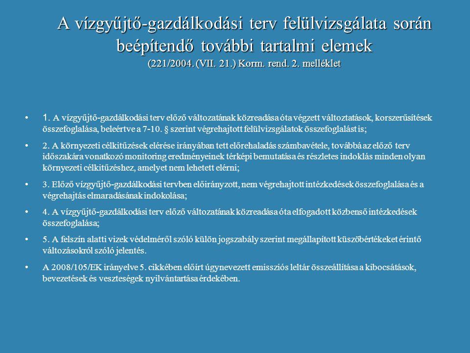 A vízgyűjtő-gazdálkodási terv felülvizsgálata során beépítendő további tartalmi elemek (221/2004. (VII. 21.) Korm. rend. 2. melléklet 1. A vízgyűjtő-g