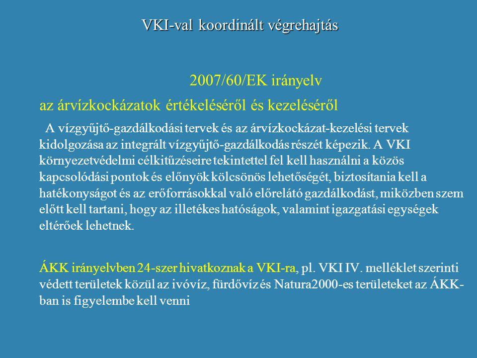 VKI-val koordinált végrehajtás 2007/60/EK irányelv az árvízkockázatok értékeléséről és kezeléséről A vízgyűjtő-gazdálkodási tervek és az árvízkockázat