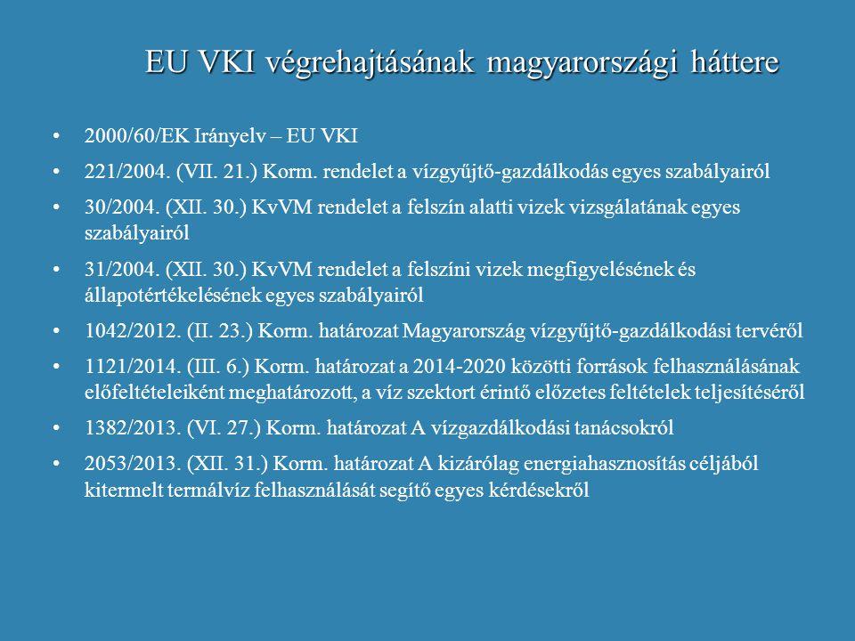 EU VKI végrehajtásának magyarországi háttere 2000/60/EK Irányelv – EU VKI 221/2004. (VII. 21.) Korm. rendelet a vízgyűjtő-gazdálkodás egyes szabályair