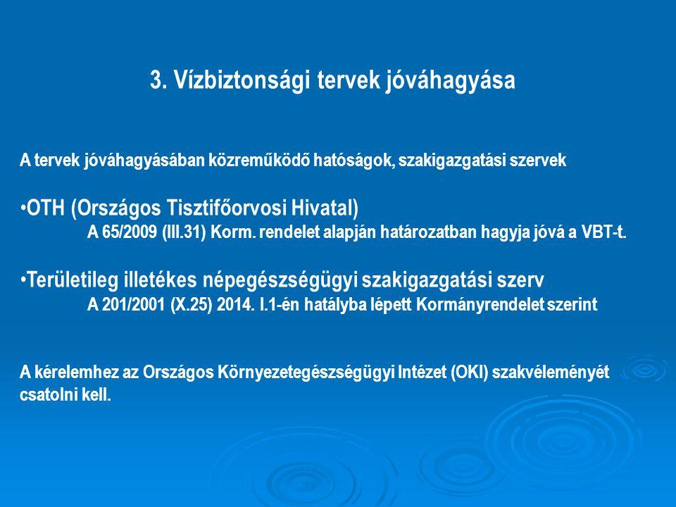 3. Vízbiztonsági tervek jóváhagyása A tervek jóváhagyásában közreműködő hatóságok, szakigazgatási szervek OTH (Országos Tisztifőorvosi Hivatal) A 65/2