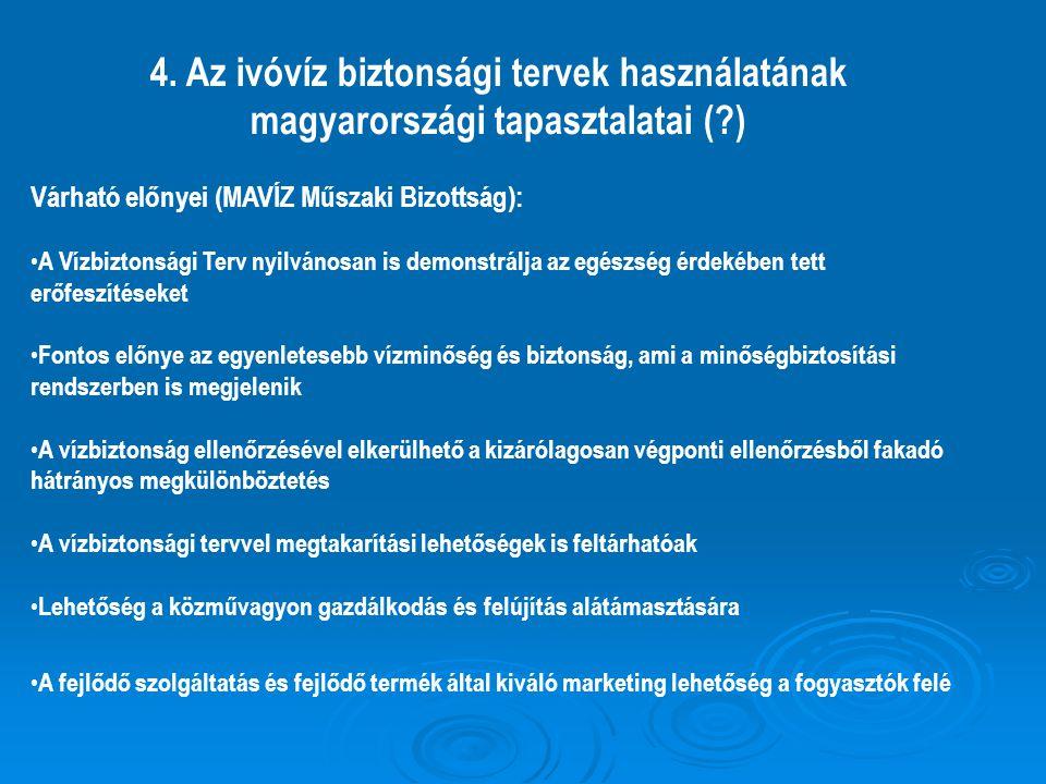 4. Az ivóvíz biztonsági tervek használatának magyarországi tapasztalatai (?) Várható előnyei (MAVÍZ Műszaki Bizottság): A Vízbiztonsági Terv nyilvános