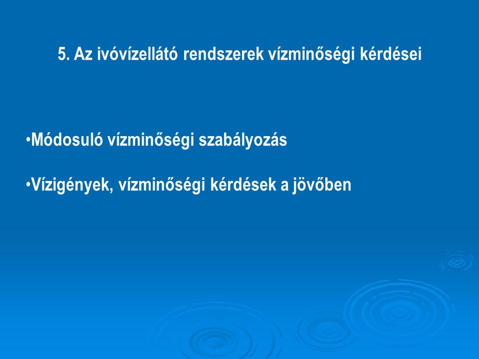 5. Az ivóvízellátó rendszerek vízminőségi kérdései Módosuló vízminőségi szabályozás Vízigények, vízminőségi kérdések a jövőben