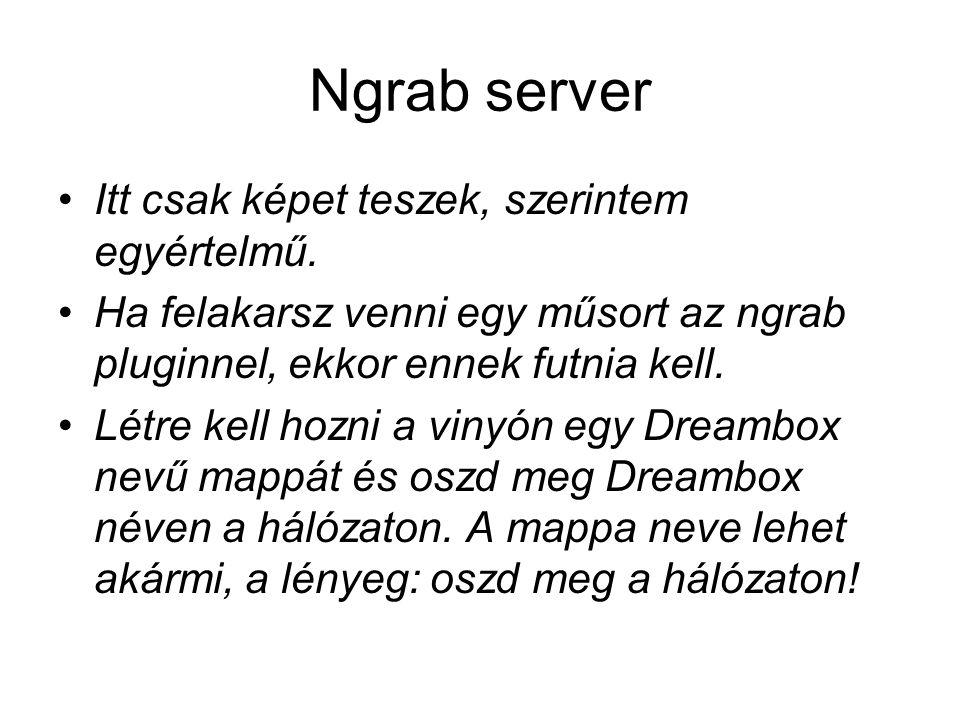Ngrab server Itt csak képet teszek, szerintem egyértelmű. Ha felakarsz venni egy műsort az ngrab pluginnel, ekkor ennek futnia kell. Létre kell hozni