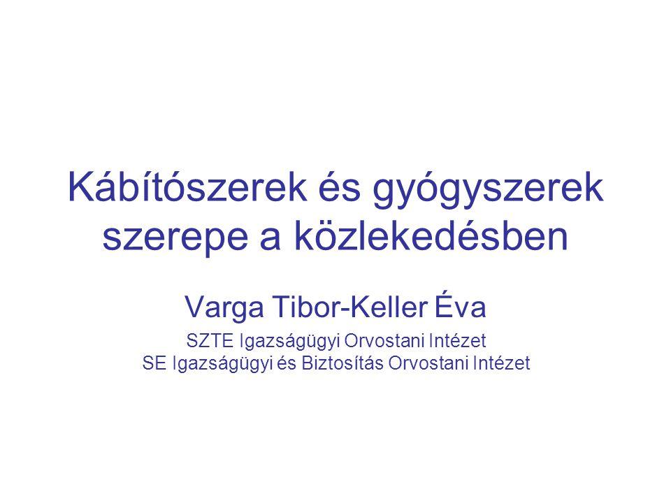 Kábítószerek és gyógyszerek szerepe a közlekedésben Varga Tibor-Keller Éva SZTE Igazságügyi Orvostani Intézet SE Igazságügyi és Biztosítás Orvostani Intézet