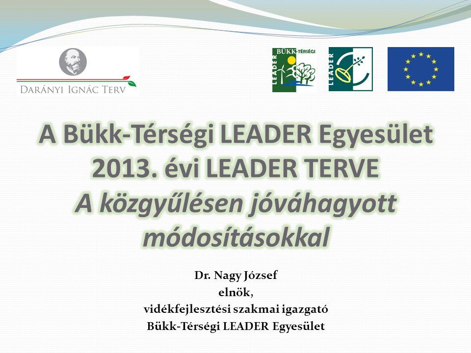 Dr. Nagy József elnök, vidékfejlesztési szakmai igazgató Bükk-Térségi LEADER Egyesület