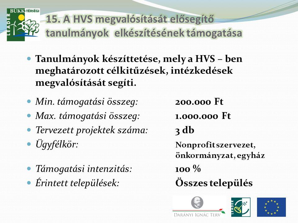 Tanulmányok készíttetése, mely a HVS – ben meghatározott célkitűzések, intézkedések megvalósítását segíti. Min. támogatási összeg:200.000 Ft Max. támo
