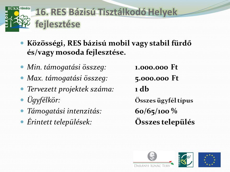 Közösségi, RES bázisú mobil vagy stabil fürdő és/vagy mosoda fejlesztése. Min. támogatási összeg:1.000.000 Ft Max. támogatási összeg:5.000.000 Ft Terv