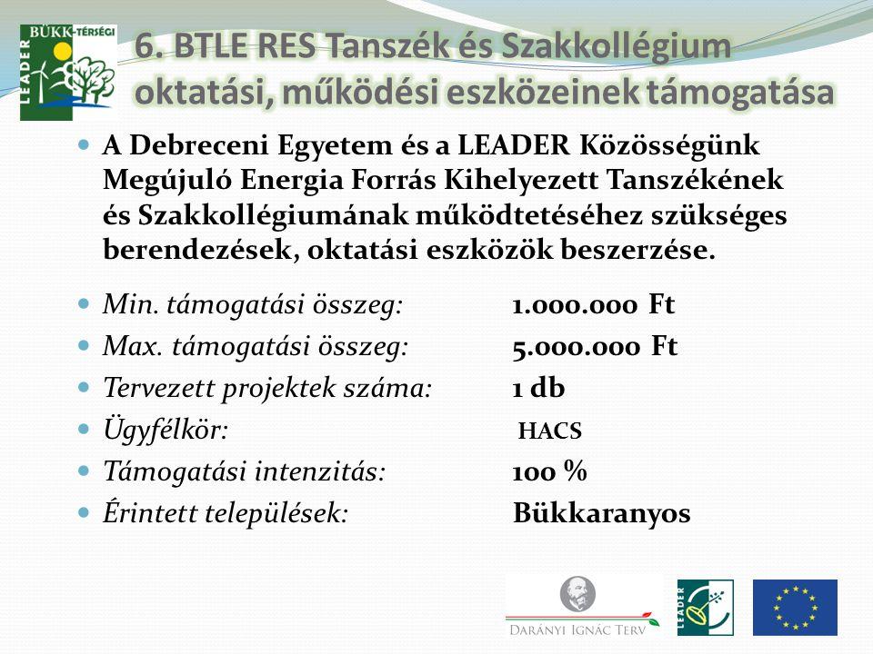 A Debreceni Egyetem és a LEADER Közösségünk Megújuló Energia Forrás Kihelyezett Tanszékének és Szakkollégiumának működtetéséhez szükséges berendezések