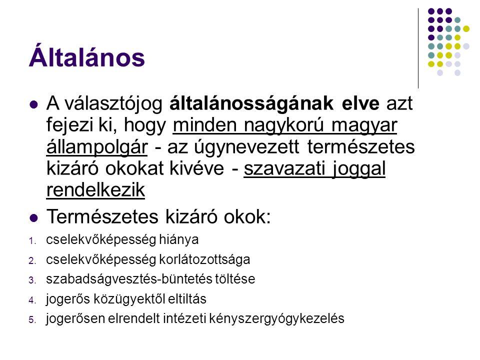 Általános A választójog általánosságának elve azt fejezi ki, hogy minden nagykorú magyar állampolgár - az úgynevezett természetes kizáró okokat kivéve - szavazati joggal rendelkezik Természetes kizáró okok: 1.