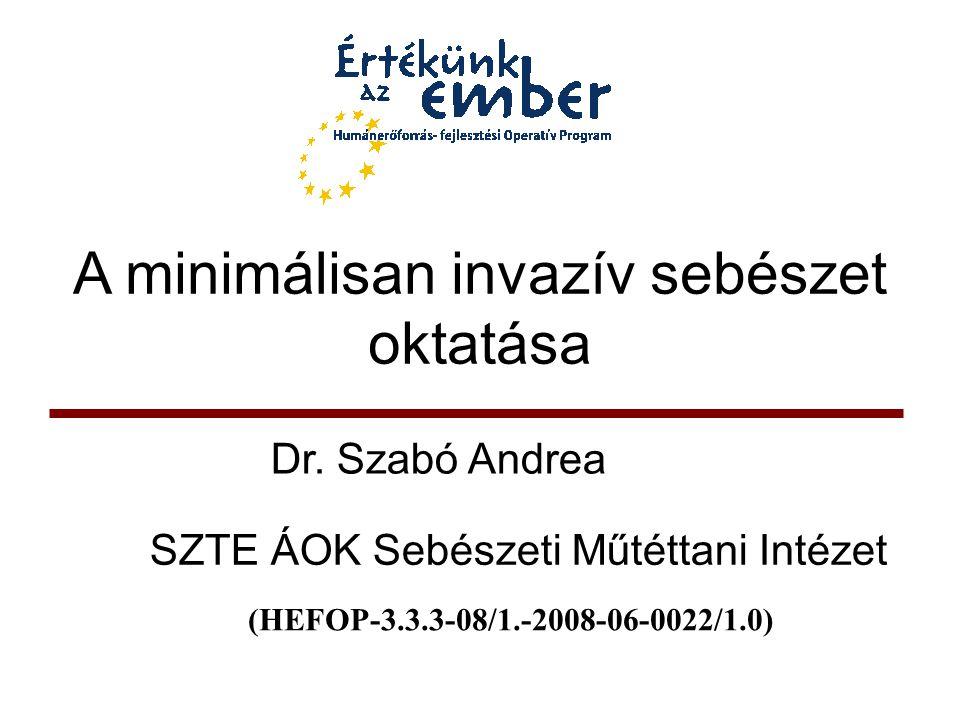 A minimálisan invazív sebészet oktatása Dr. Szabó Andrea SZTE ÁOK Sebészeti Műtéttani Intézet (HEFOP-3.3.3-08/1.-2008-06-0022/1.0)