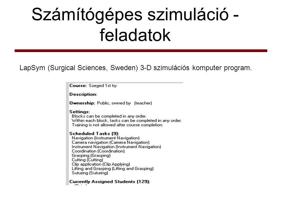Számítógépes szimuláció - feladatok LapSym (Surgical Sciences, Sweden) 3-D szimulációs komputer program.