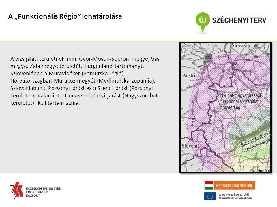 """A """"Funkcionális Régió"""" lehatárolása A vizsgálati területnek min. Győr-Moson-Sopron megye, Vas megye, Zala megye területét, Burgenland tartományt, Szlo"""