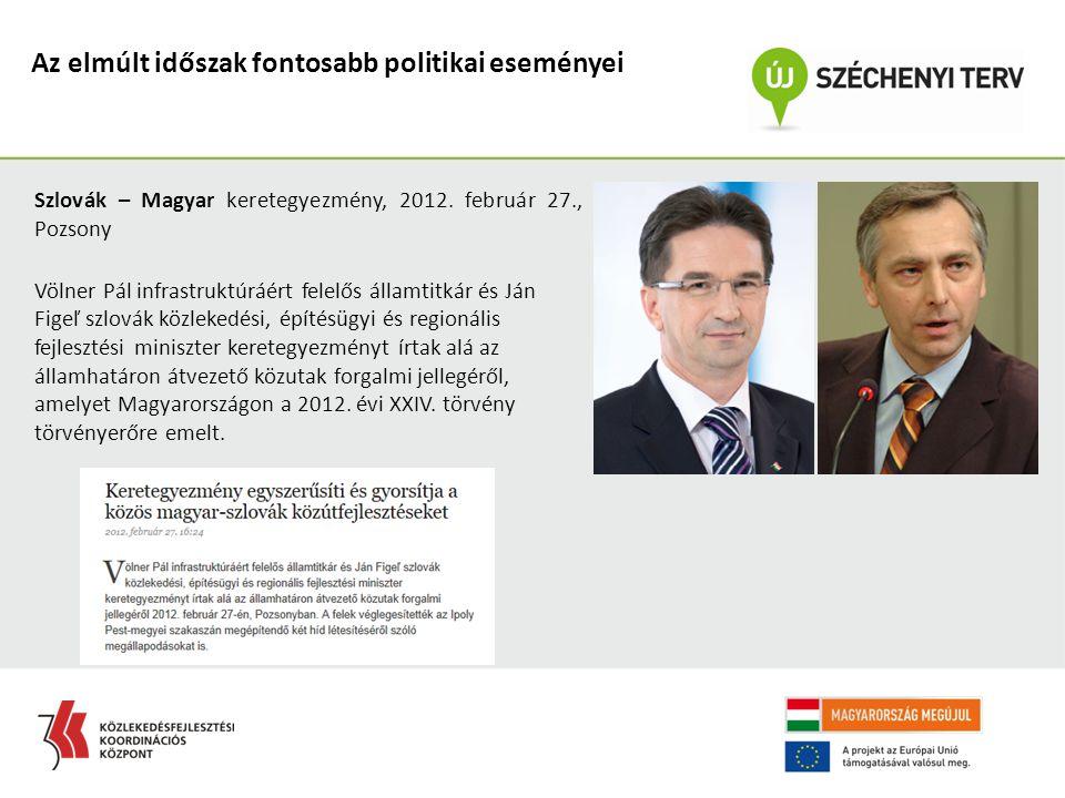 Az elmúlt időszak fontosabb politikai eseményei Szlovák – Magyar keretegyezmény, 2012. február 27., Pozsony Völner Pál infrastruktúráért felelős állam